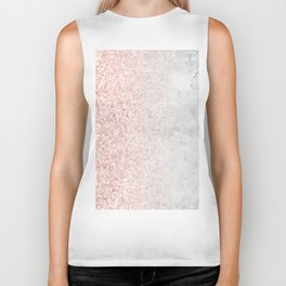 Blush Pink Sparkles on White and Gray Marble Biker Tank