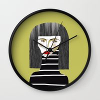 fashion illustration Wall Clocks featuring Fashion Illustration. by Ashley Percival illustration
