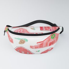 Watercolor Snowy Red Holiday Barns Fanny Pack