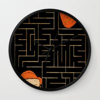 labyrinth Wall Clocks featuring labyrinth by Christina Tsevis