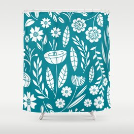 Blooming Field - teal Shower Curtain