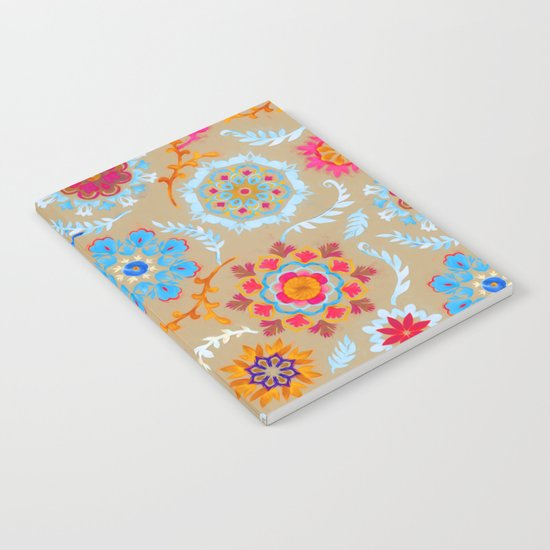 Brown Sugar Suzani Inspired Pattern Notebook