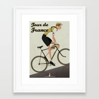tour de france Framed Art Prints featuring Tour De France by Wyatt Design