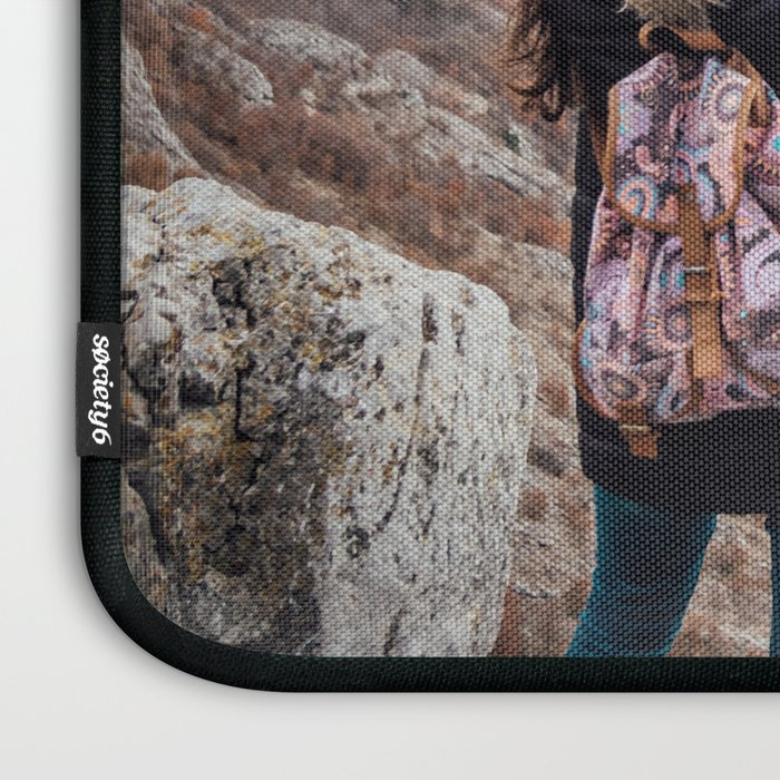 Tourist on the peak of high rocks. Big canyon on Balkan peninsula Laptop Sleeve