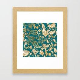 Golden Indian henna in green Framed Art Print