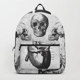 Vintage Medical Engravings of a Human Skull Backpack