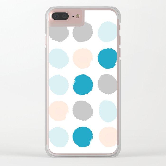 Painted dots minimal bright summer palette boho polka dots decor minimalist Clear iPhone Case
