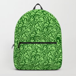 William Morris Thistle Damask, Emerald Green Backpack