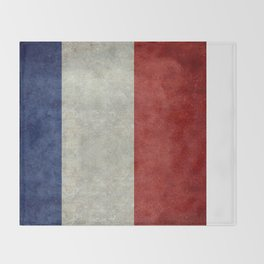 French Flag with vintage textures Throw Blanket