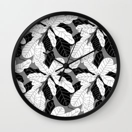 Tropicana Banana Leaves in Grayscale Wall Clock