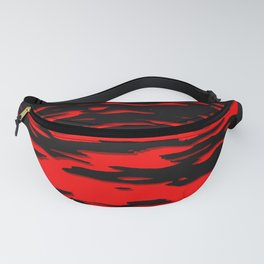 Black red abstract wave Fanny Pack