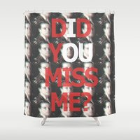 moriarty Shower Curtains featuring Did You Miss Me? / IOU / Moriarty / VII by Earl of Grey