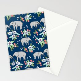 Elephants pattern navy blue with florals cute nursery baby animals lucky gifts Stationery Cards