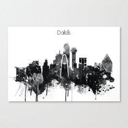 Dallas TexasBlack White Skyline Poster Canvas Print