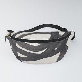 Mid Century Modern Minimalist Abstract Art Brush Strokes Black & White Ink Art Spiral Circles Fanny Pack