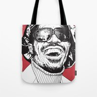 stevie nicks Tote Bags featuring Stevie Wonder by Andy Christofi