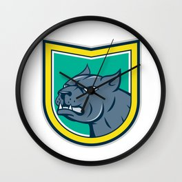 Pitbull Dog Mongrel Head Side Shield Cartoon Wall Clock