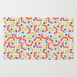 Primal - memphis throwback squiggle circle geometric grid lines dots trendy hipster 80s retro cool Rug