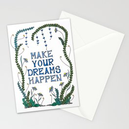 Make Your Dreams Happen Illustrated Quote Stationery Cards