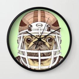 American Pug Football Yellow Wall Clock