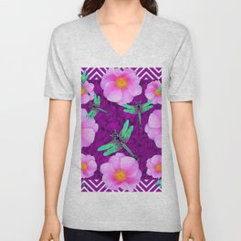 Aqua Dragonflies Pink Roses Purple Abstract Pattern Art Unisex V-Neck
