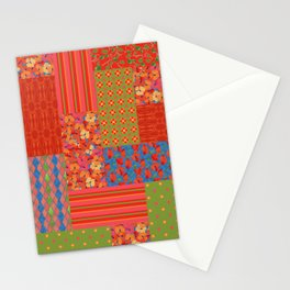 Poppy Fields Faux Patchwork Stationery Cards