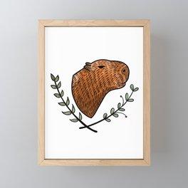 Cute Capybara color Framed Mini Art Print
