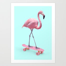 SKATE FLAMINGO Art Print