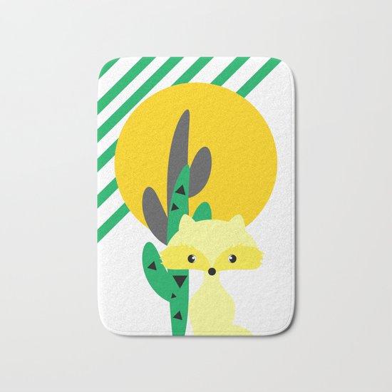 Cute fox in the desert Bath Mat