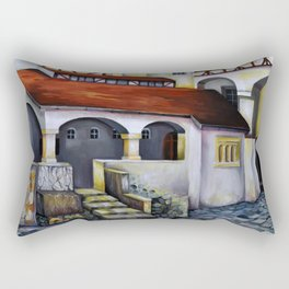 Dracula Castle - the interior courtyard Rectangular Pillow