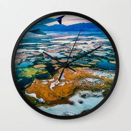 Airplane Window View | Salt Lake City Psychedelic Natural Vibrant Colorful Landscape Wall Clock