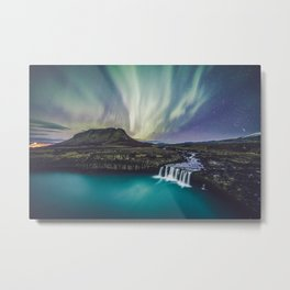 Northern Lights at Thjofafoss (Iceland) Metal Print
