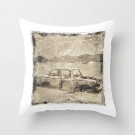 Old Wreck Car Photograph Throw Pillow