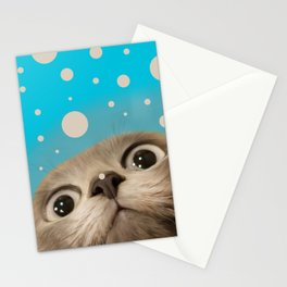"""Fun Kitty and Polka dots"" Stationery Cards"