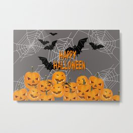 Pumpkins Happy Halloween Illustration Metal Print
