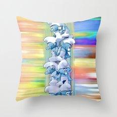 Falling Smurfs - Pastel Throw Pillow