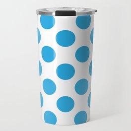 Blue Large Polka Dots Pattern Travel Mug