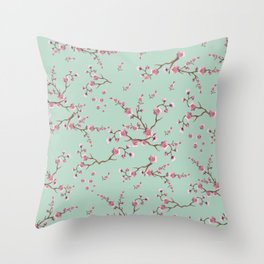 SAKURA  - PRETTY MINT Throw Pillow