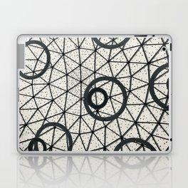 Black and White Circular Pattern Abstract Geometric Art Print Photograph Laptop & iPad Skin