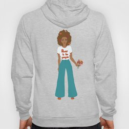 Digital illustration 70s style hippie girl retro girl power power to the people flower power Hoody