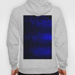 Vibrant blue abstract floral fantasy on black Hoody
