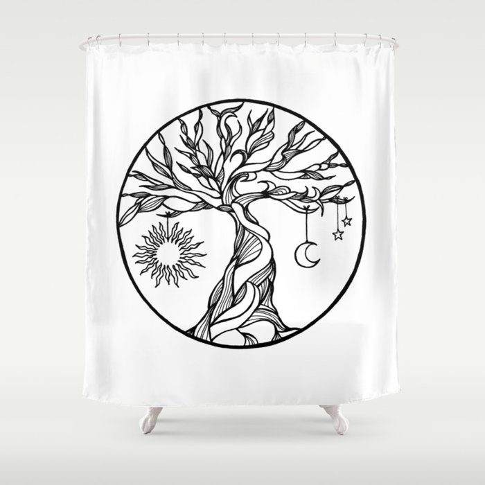 Black And White Tree Of Life With Hanging Sun Moon And Stars I