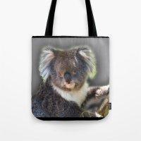 koala Tote Bags featuring Koala by SwanniePhotoArt
