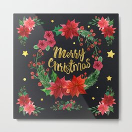 Merry Christmas Poinsettia Wreath Metal Print