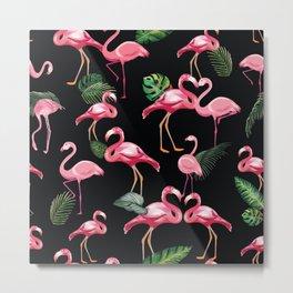 Flamingos Love Pattern 3 Metal Print