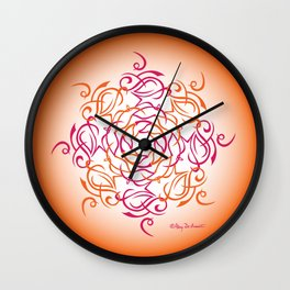 Namaste Mandala Glow - Red Orange Wall Clock