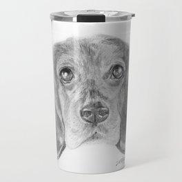 Beagle Dog Face Realistic Pencil Sketch Drawing Travel Mug