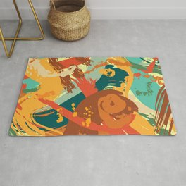 Vivid Strokes in Orange and Teal Rug