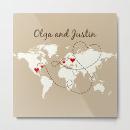 Personalized World Map Love Story Metal Print