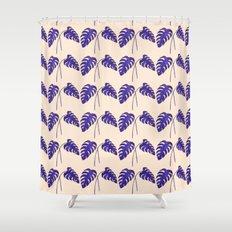 Indigo Monstera Leaf Watercolor on Blush Shower Curtain